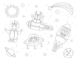 Poster de jardin Des Illustrations Hand drawn black and white vector illustration of cute funny bunny, owl, unicorn astronauts, alien in space, with planets, stars. Isolated objects. Line drawing. Design concept children coloring pages