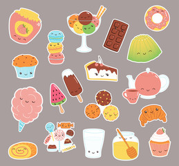 Garden Poster Illustrations Set of kawaii funny sweet food doodle stickers with cake, cookies, ice cream, candy, jam, macarons. Isolated objects. Hand drawn vector illustration. Line drawing. Design concept dessert, kids print.