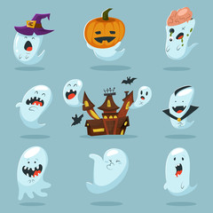 Cute ghost character in costume: pumpkins, witches hat, vampire, zombie and haunted house. Vector cartoon icons set for Halloween.