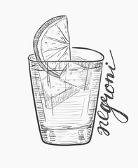 Negroni alcoholic cocktail. Hand drawn vector illustration in sketch style. Fashionable drink with orange and ice cubes