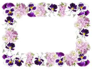 Beautiful floral frame from pansies and pelargonium
