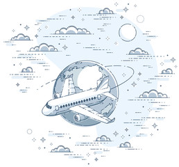 Airlines air travel illustration with plane airliner and planet earth in the sky surrounded by clouds. Beautiful thin line vector isolated over white background.