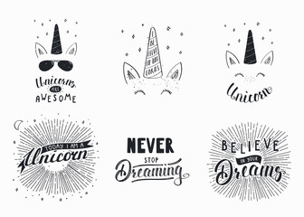 Set of hand written funny inspirational lettering quotes about unicorns, dreams. Isolated objects. Hand drawn black and white vector illustration. Design concept for t-shirt print, motivational poster