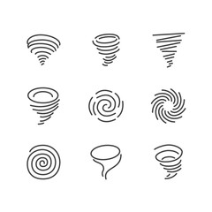 Tornado flat line icons. Hurricane, storm vector illustrations. Thin signs of nature disaster. Pixel perfect 64x64. Editable Strokes.