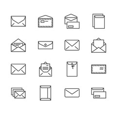 Envelopes flat line icons. Mail, message, open envelope with letter, email vector illustrations. Thin signs for web site, post office. Pixel perfect 64x64. Editable Strokes.