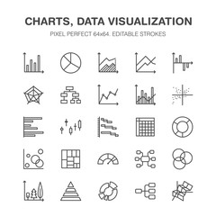 Chart types flat line icons. Linear graph, column, pie diagram, financial report vector illustrations, infographic. Thin signs business statistic, data analysis. Pixel perfect 64x64. Editable Strokes.