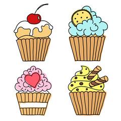 cupcake vector doodle set