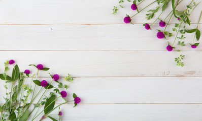 wild beautiful flowers on white wooden background
