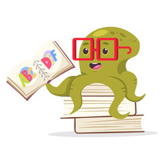 Cute octopus sits on books and reading the alphabet. Vector cartoon character of underwater animal. Illustration for kids isolated on a white background.
