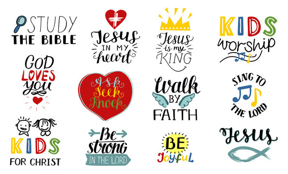 Set of 12 Hand lettering christian quotes Jesus is my king, Study the bible, Walk by faith, Kids ministry, Sing to the Lord, Be joyful, Strong, Worship .