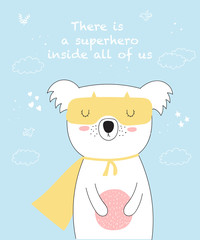 Vector postcard with line drawing superhero koala with cool slogan