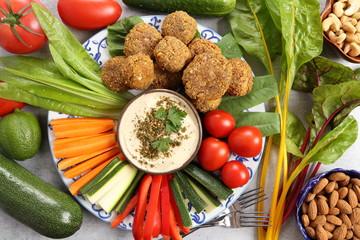 Vegetables and humus.