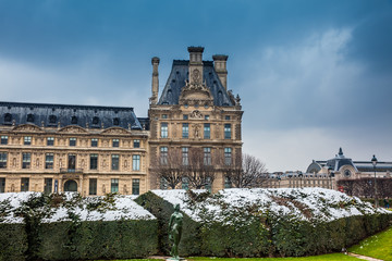 The Louvre Museum in a freezing winter day day just before spring