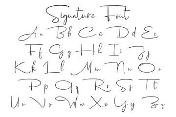 Signature font alphabet