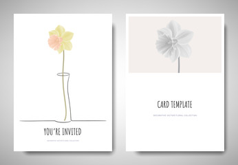 Minimalist greeting/invitation card template design, pastel yellow daffodil in simple line vase on white background