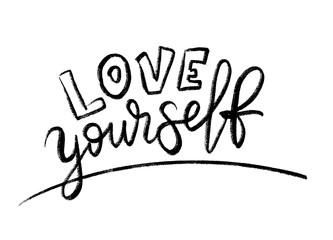 Love yourself quote. Single word. Modern calligraphy text print Vector illustration black and white. ego