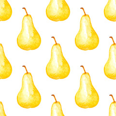 Seamless pattern with ripe yellow pears