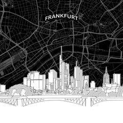 Frankfurt skyline with map