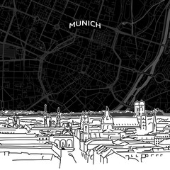 Munich skyline with map