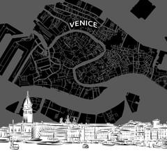 Venice  skyline with map
