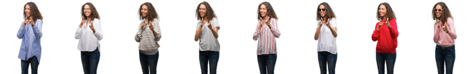 Composition of young brazilian woman isolated over white background pointing fingers to camera with happy and funny face. Good energy and vibes.