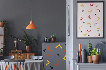 Geometric grey dining room interior
