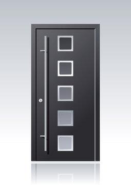 Moderne anthrazit farbene Vektor Haustür mit Glasauschnitten und Edelstahlapplikationen