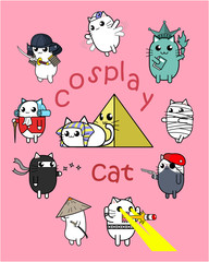 Cute cat wearing international costume for funny party, cartoon character design.