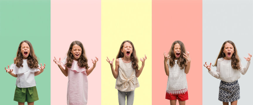 Collage of brunette hispanic girl wearing different outfits crazy and mad shouting and yelling with aggressive expression and arms raised. Frustration concept.