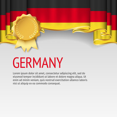 Germany flag background with badge. Flag of Germany.