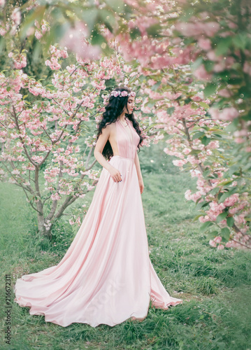 Incredible Gentle Elf In A Luxurious Gently Pink Dress Strolls In