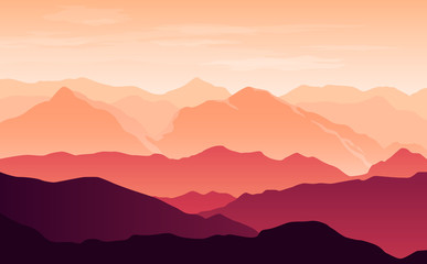 Fototapete - Vector bright silhouettes of orange and purple mountains in the evening with clouds in the sky