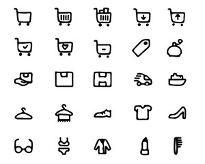 shopping hand drawn icon set , designed for web and app