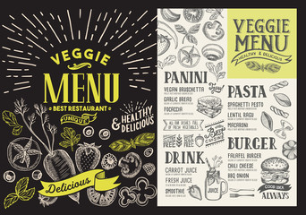 Veggie menu for restaurant. Vector food flyer for bar and cafe. Design template on blackboard with food hand-drawn graphic illustrations.