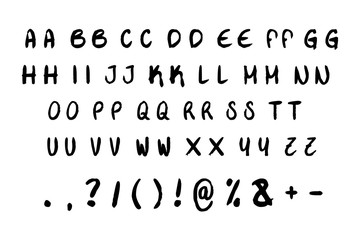 Black and white font alphabet