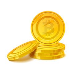 Bitcoins stack vector illustration. Golden money cash.