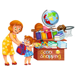 School shopping colorful poster