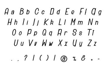 Simple modern font alphabet