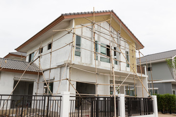 Building and Construction site of new home at Bangkok Thailand