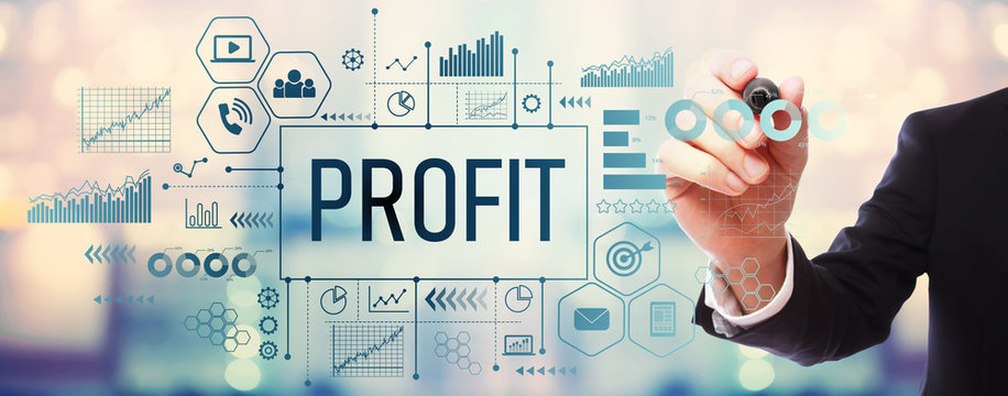 Profit with businessman on blurred abstract background