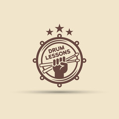 Drum school isolated vector round emblem