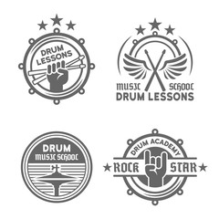 Drum school or drum lessons vector vintage emblems