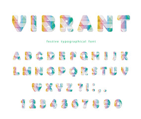 Modern vibrant font. Stylized mulricolored letters and numbers. For brochure header, poster, flyer design.