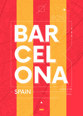 Typography graphics color poster with a map of Barcelona, Vector travel illustration