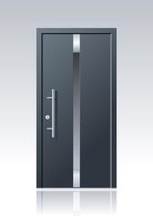 Moderne graue Vektor Haustür mit Glasauschnitten und Edelstahlapplikationen
