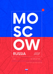 Typography graphics color poster with a map of Moscow, Vector travel illustration