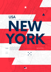 Typography graphics color poster with a map of New York, Vector travel illustration