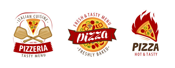 Pizza logo or label. Pizzeria, food concept. Vector illustration