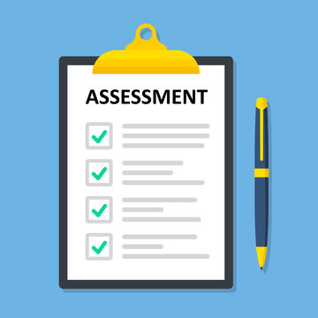 Clipboard checklist with assessment. Paperwork, sheets in folder flat design - stock vector.