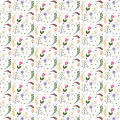 Seamless flower pattern on white background. Vector illustration